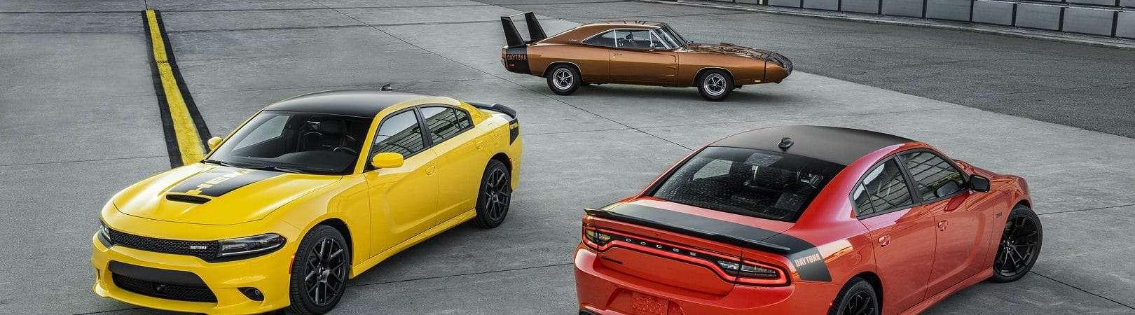 2017 Dodge Charger Daytona (left), 1969 Dodge Charger Daytona (center) and 2017 Dodge Charger Daytona 392 (right)