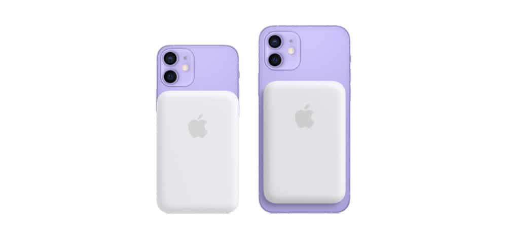 Magsafe Battery Pack acoplado a um iPhone 12 Mini e um iPhone 12