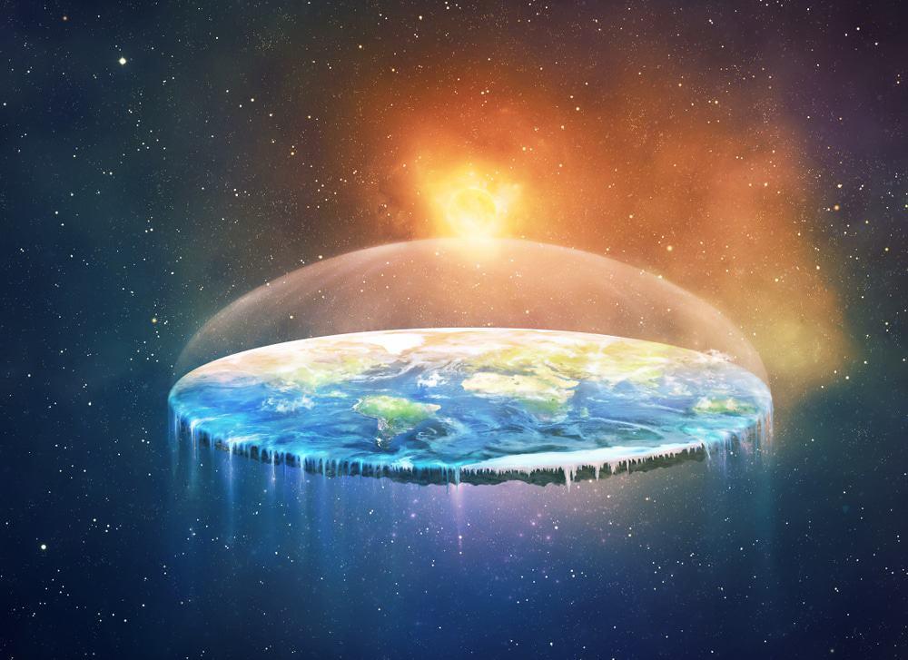 Ilustração de Terra plana vista do espaço