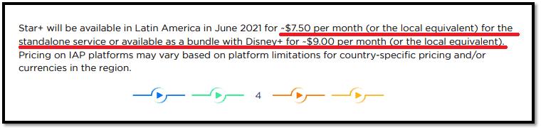 Trecho do documento 'Investor Day Star Fact Sheet' que revela o preço do novo streaming. Imagem: disneyplusbrasil.com/Reprodução