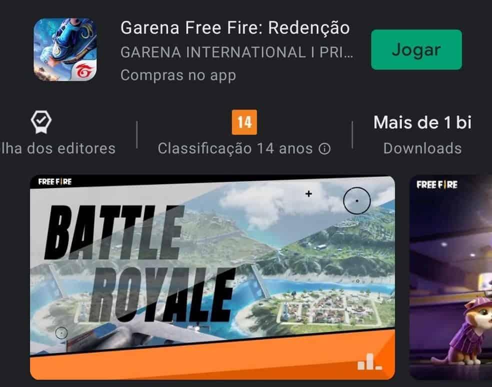 'Free Fire' atinge 1 bilhão de downloads na Play Store. Imagem: Google Play Store