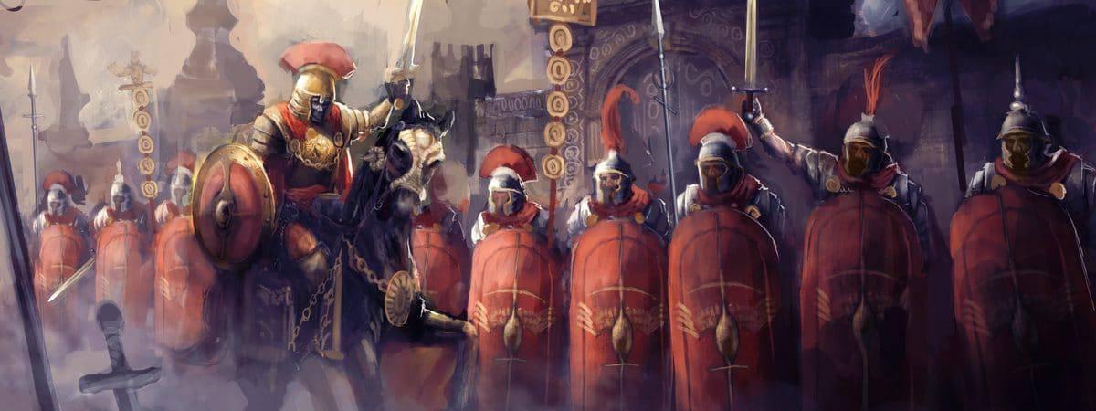 Ilustração digital mostra soldados do império romano em marcha