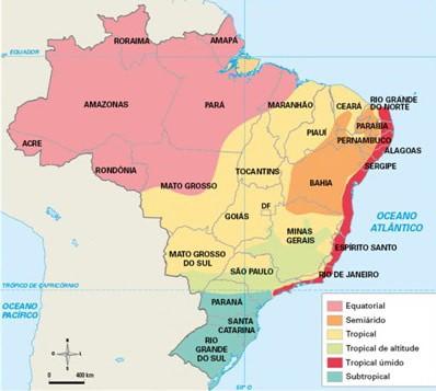 mapa com os seis climas do Brasil