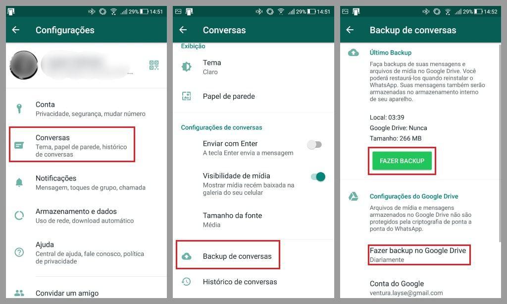 menu de configurações do whatsapp