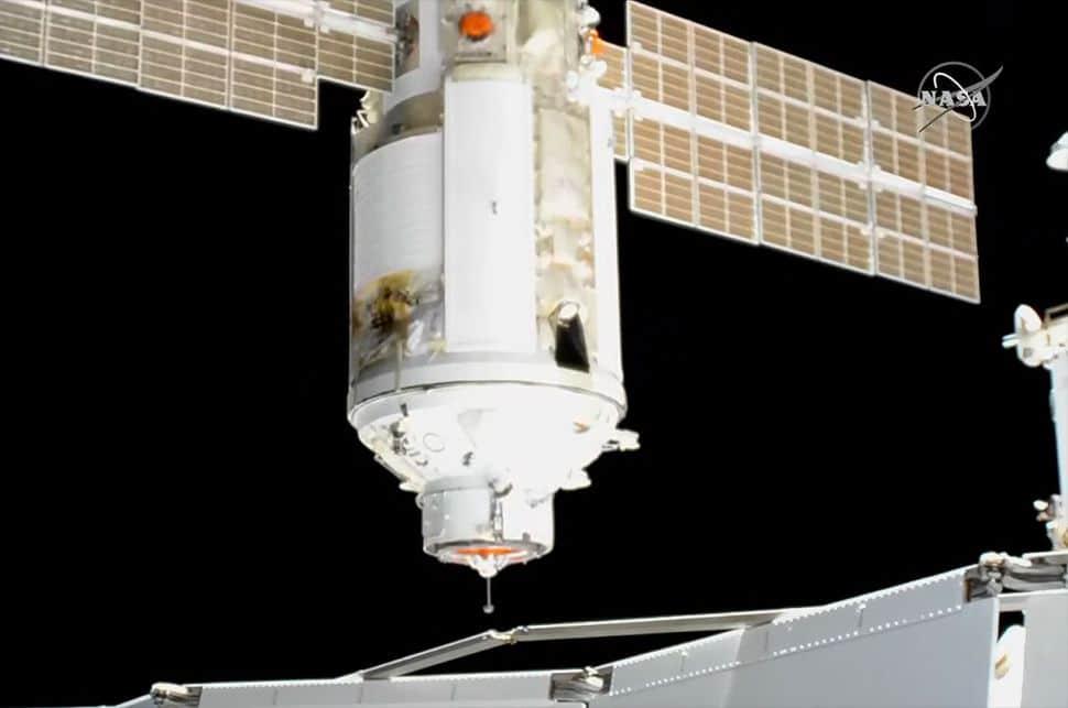 Módulo Nauka se acoplando à Estação Espacial Internacional. Imagem: Nasa