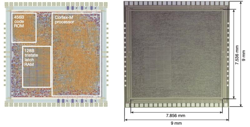 Imagem mostra conceito mostrado pela ARM de um processador de plástico. Empresa divulgou estudo onde aplica a tecnologia