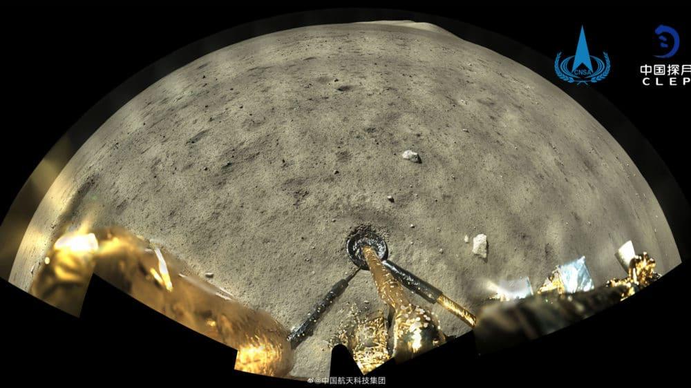 """Imagem mostra foto do local de pouso da missão Chang'e 5, da China. Ponto na lua foi chamado de """"Statio Tianchuan"""""""