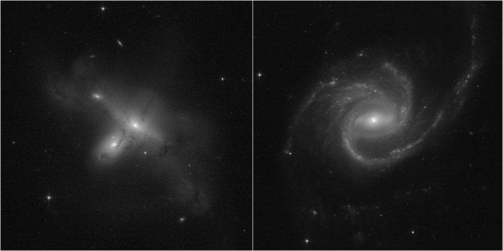 As duas primeiras fotos do Hubble após o conserto mostram galáxias. A primeira é o par de galáxias ARP-MADORE2115-273, interagindo no hemisfério sul, enquanto a segunda exibe uma grande galáxia espiral, ARP-MADORE0002-503, que tem três braços. Imagem: NASA, ESA, STScI, Julianne Dalcanton (UW)