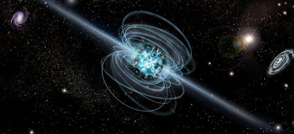 Imagem mostra a representação artística de um magnetar, suposto ponto de origem de sinais de rádio emitidos de dentro da Via Láctea
