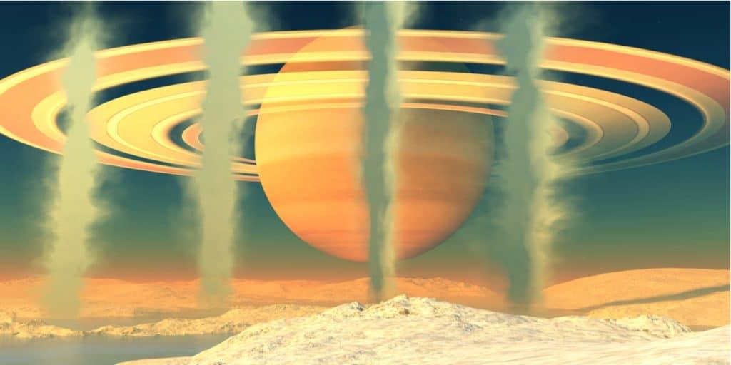 Ilustração digital mostra produção de metano em Encélado, a sexta maior lua de Saturno. Cientistas usam esse processo químico para criar teorias sobre a possibilidade de vida no satélite.