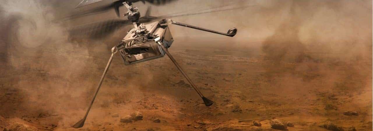 Imagem conceitual do helicóptero Ingenuity, que sobrevoa Marte em missão de exploração