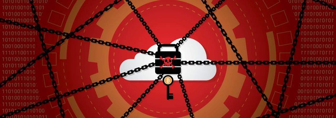 Ilustração mostra várias correntes presas a um cadeado, com uma nuvem travada por trás dele, simbolizando um ataque de ransomware