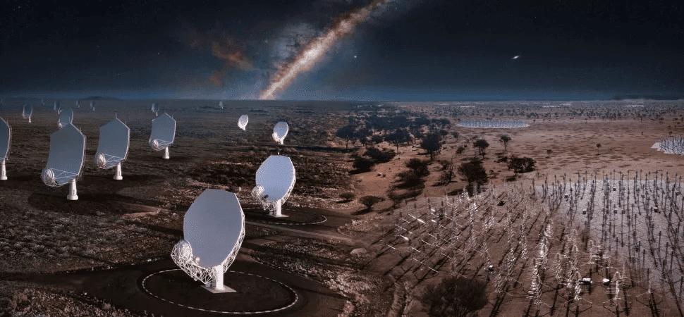 Renderização mostra visual do Observatório SKA, o maior telescópio de rádio do mundo, quando sua construção estiver finalizada