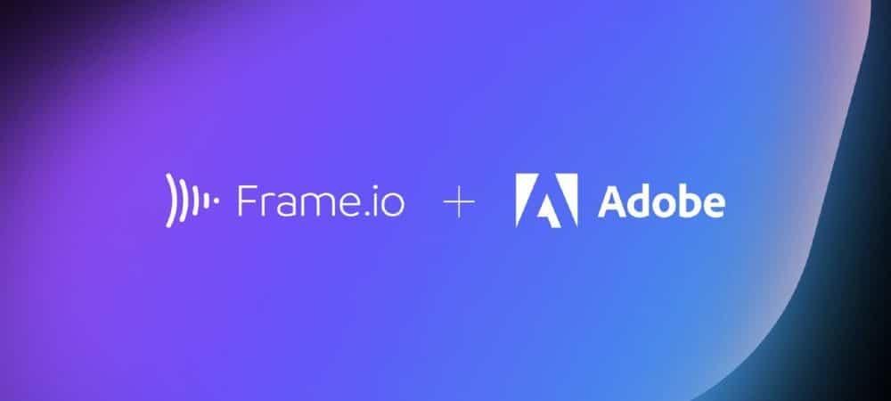 Imagem mostra os logos das empresas Adobe e Frame.io, em um fundo degradê de azul e roxo.
