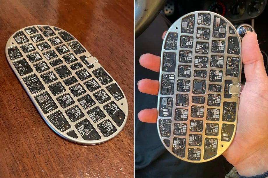 """Protótipo de um carregador AirPower. Estrutura interna em alumínio lembra um teclado, e cada """"quadradinho"""" é um controlador de carga. Imagem: Giulio Zompetti."""