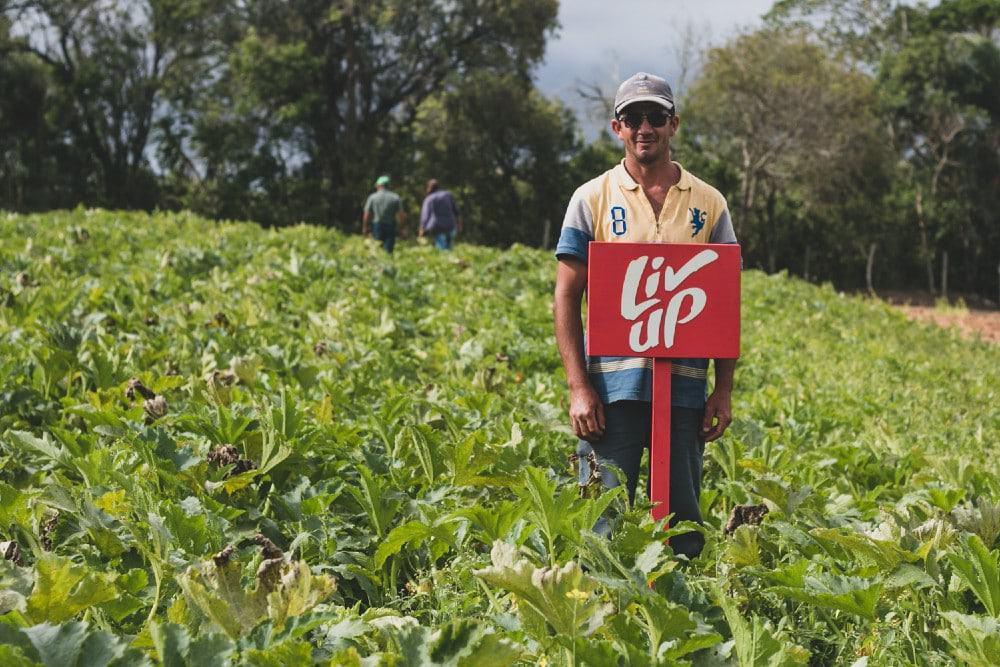 Imagem mostra um produtor rural no meio de uma plantação mantira em parceria com a startup Liv Up; à frente do produtor está uma plata vermelha que mostra o logo da startup
