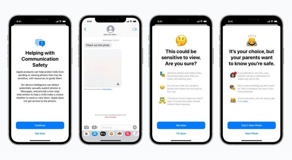 Imagem mostra um conjunto de iPhones exibindo alertas da Apple contra a veiculação de pornografia infantil. Empresa vai implementar sistema de monitoramento ativo de seus usuários a fim de identificar quem pratica esse tipo de ato