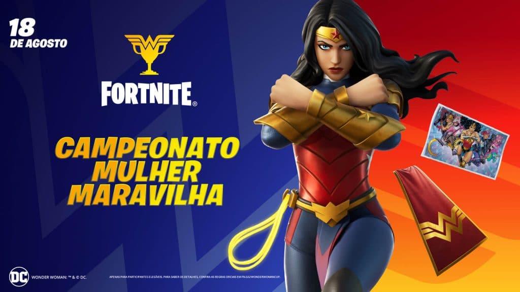 Imagem da Mulher-Maravilha como personagem do jogo 'Fortnite' junto ao título do Campeonato