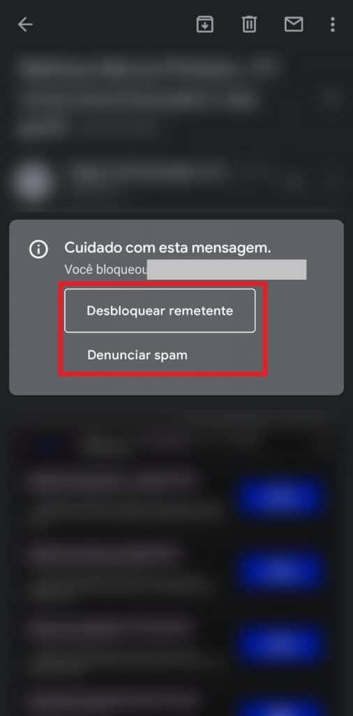 Print do aplicativo do Gmail