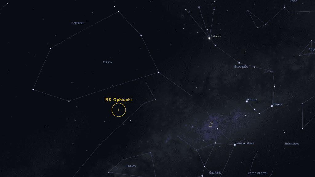 Localização da nova (estrela) recorrente RS Ophiuchi na Constelação do Serpentário (Ofiúco)