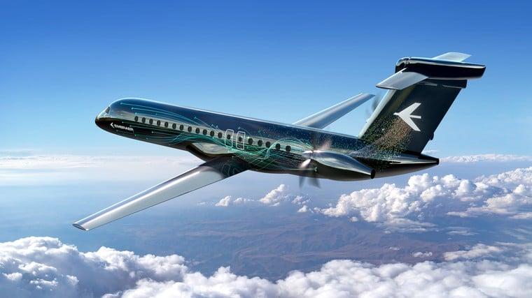 Visão traseira do novo avião da Embraer