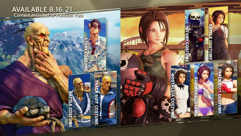Promotional image shows the two new characters from the Street Fighter V season card, left we see Akira and right Oro.