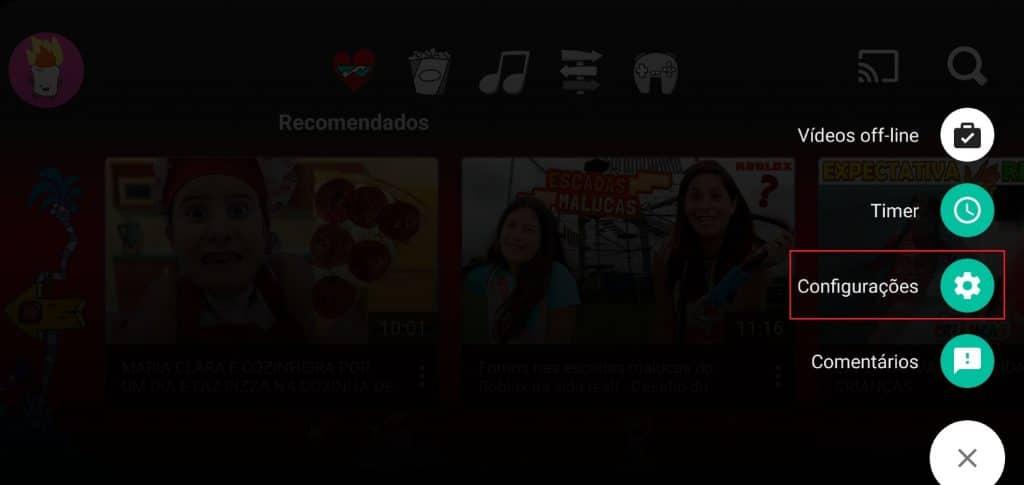Como acessar as configurações no aplicativo YouTube Kids