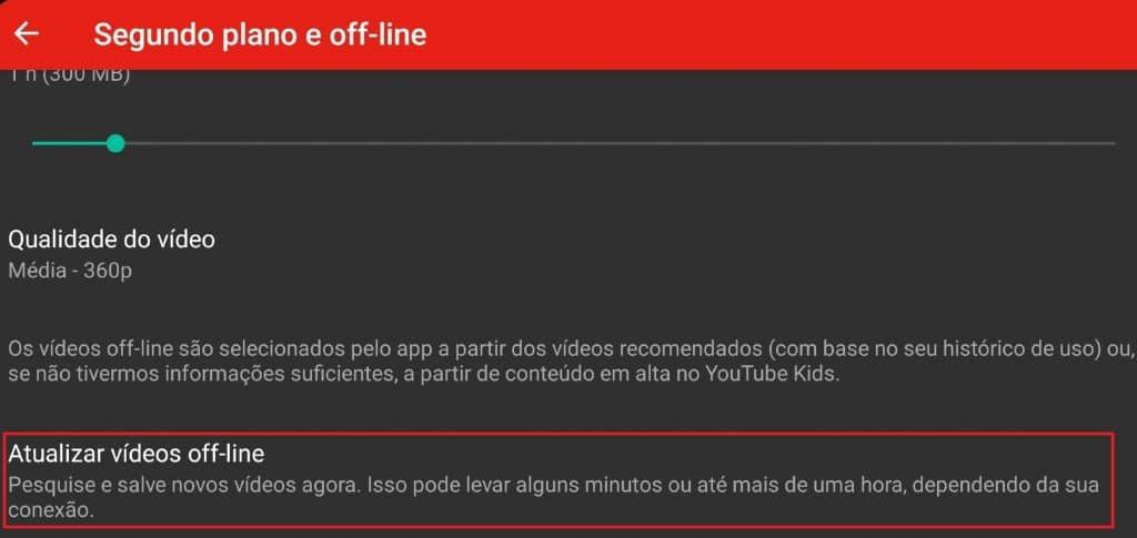 Como atualizar vídeos off-line no YouTube Kids