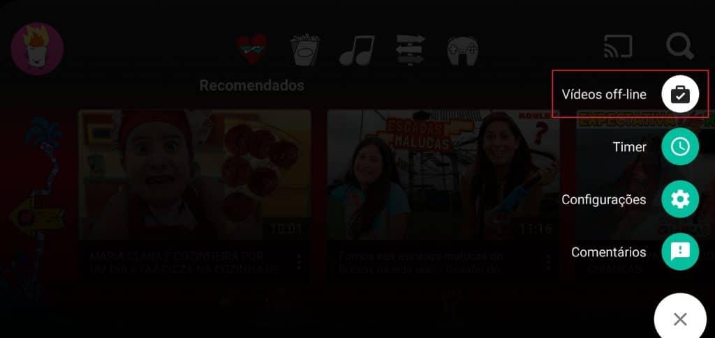 Como ativar manualmente os vídeos off-line baixados no YouTube Kids