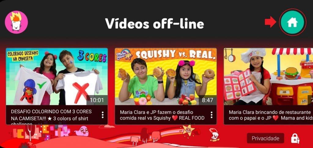 Como desativar manualmente os vídeos off-line baixados no YouTube Kids