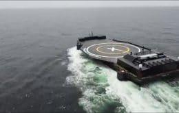 Balsa de pouso da SpaceX é levada ao Atlântico para pouso de foguete Falcon 9