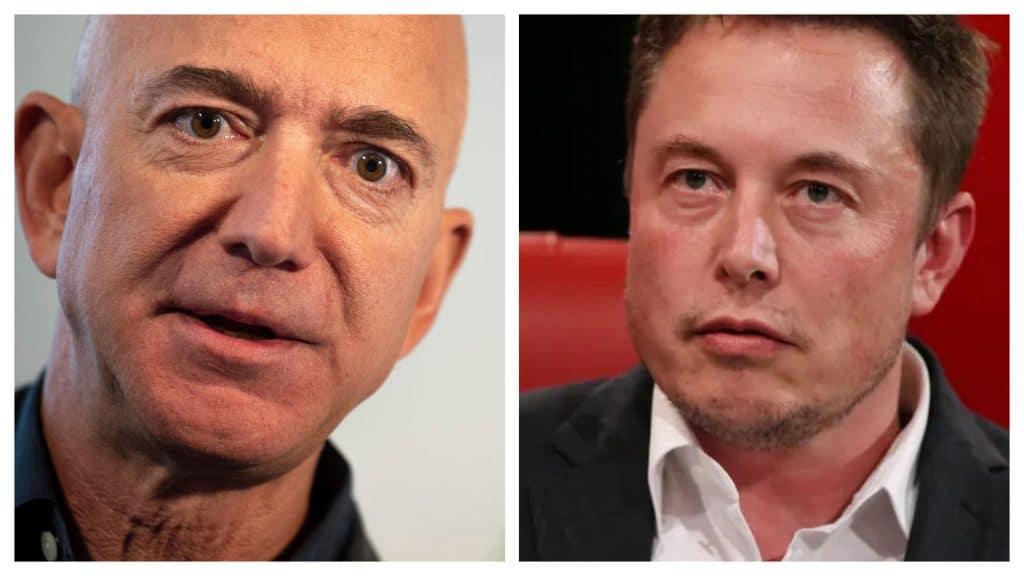 Montagem mostra Jeff Bezos e Elon Musk se encarando