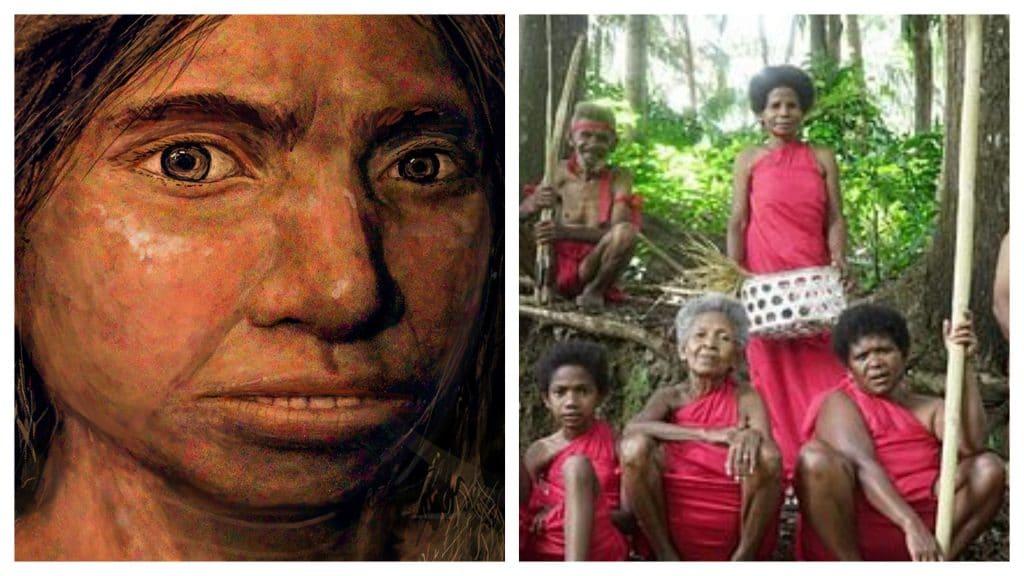 """Montagem mostra o hominídeo denisovano, alinhado lateralmente a representantes do povo """"Ayta Magbukon"""" das Filipinas.  O DNA do homem denisovano é preservado nas populações étnicas filipinas até hoje"""