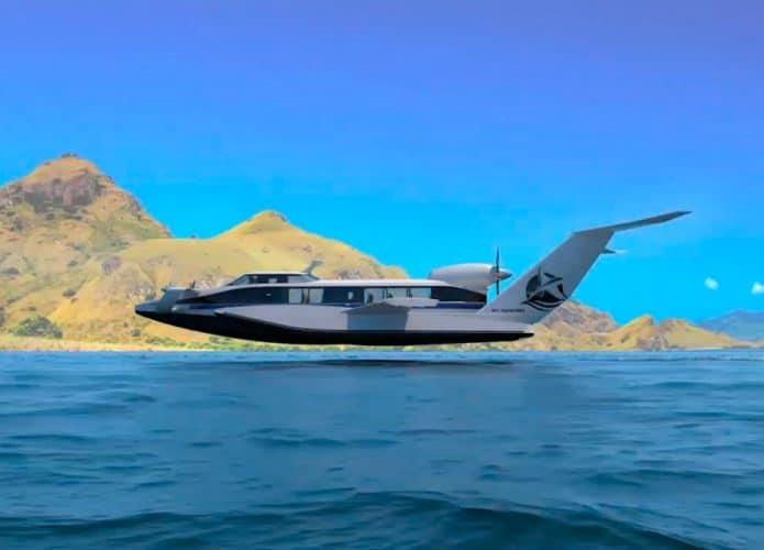 ecranoplano planando sobre o mar