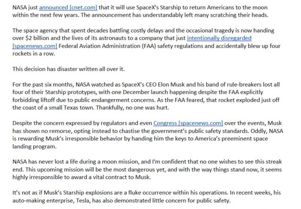 E-mail criticando Elon Musk com conspirações teria sido enviado por concorrente da SpaceX, chamada United Launch Alliance