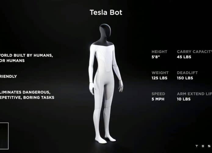 slide de apresentação do Tesla Bot