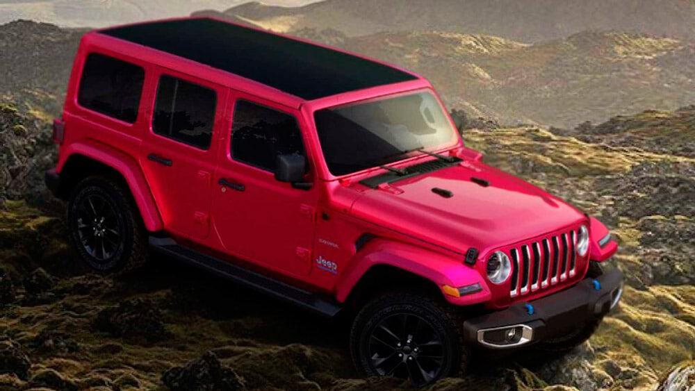 um jeep em meio a terreno rochoso