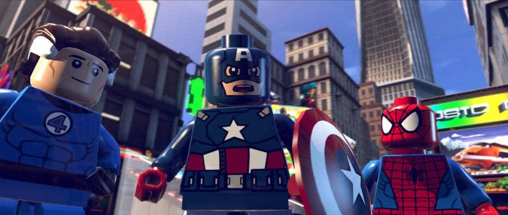 Imagem exibe Senhor Fantástico, Capitão América e Homem-Aranha juntos em cena do jogo.