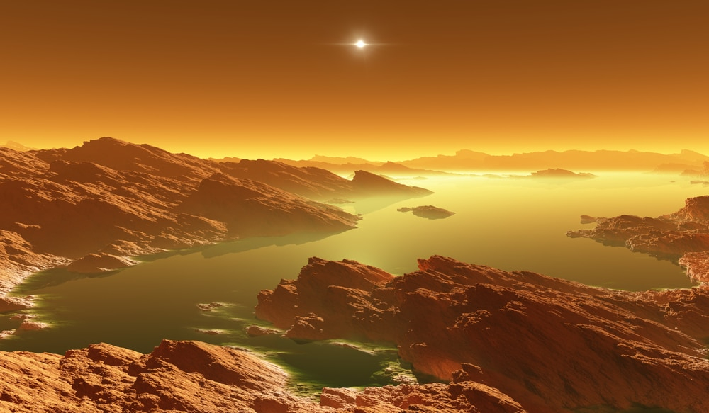 Ilustração mostra paisagem amarelada de uma das luas de Saturno: cientistas conseguiram recriar as condições de Titã em laboratório