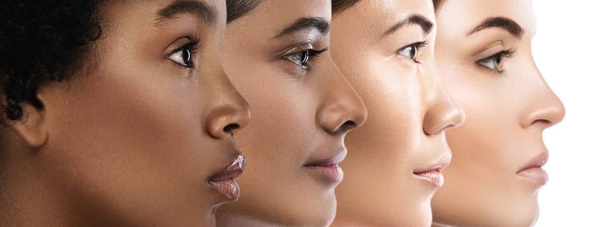 Imagem mostra quatro mulheres em ordem de projeção: a negra na frente, uma mulher árabe em seguida, depois, uma asiática e, finalmente, uma branca ao fundo