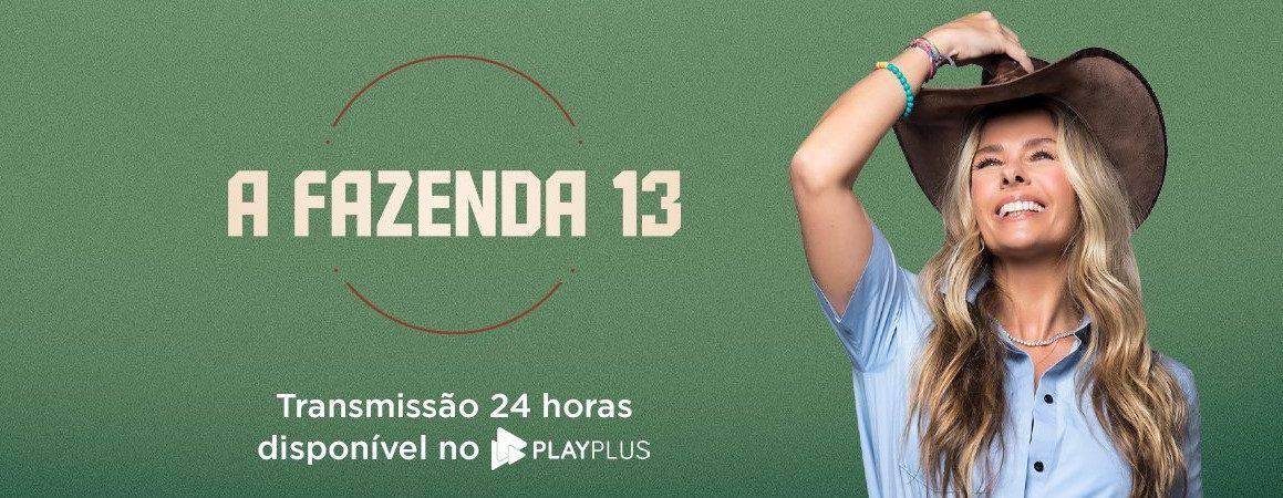 Logo do reality show A Fazenda com a apresentadora Adriane Galisteu sorrindo