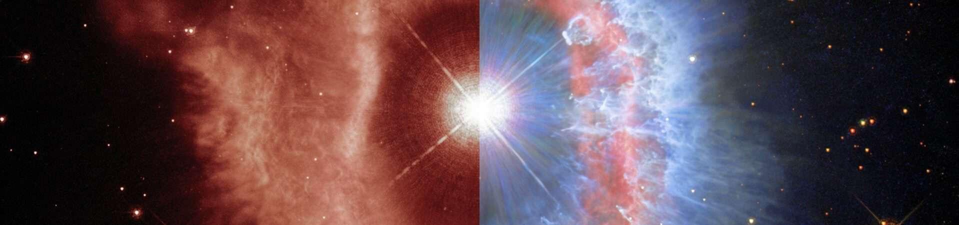 Estrela variável luminosa azul, AG Carinae como observada pelo telescópio espacial Hubble. Imagem: ESA/Hubble and NASA, A. Nota, C. Britt