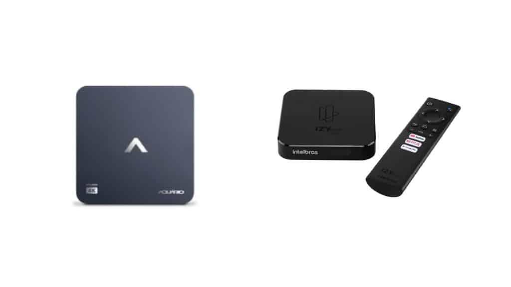Imagens mostram as tv boxes da Aquario e da Intelbras