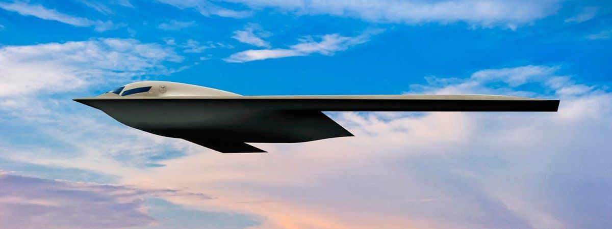 Renderização do avião b-21 raider voando num céu limpo