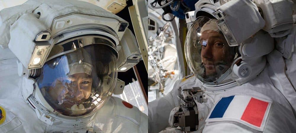 Astronautas Akihiko Hoshide e Thomas Pesquet