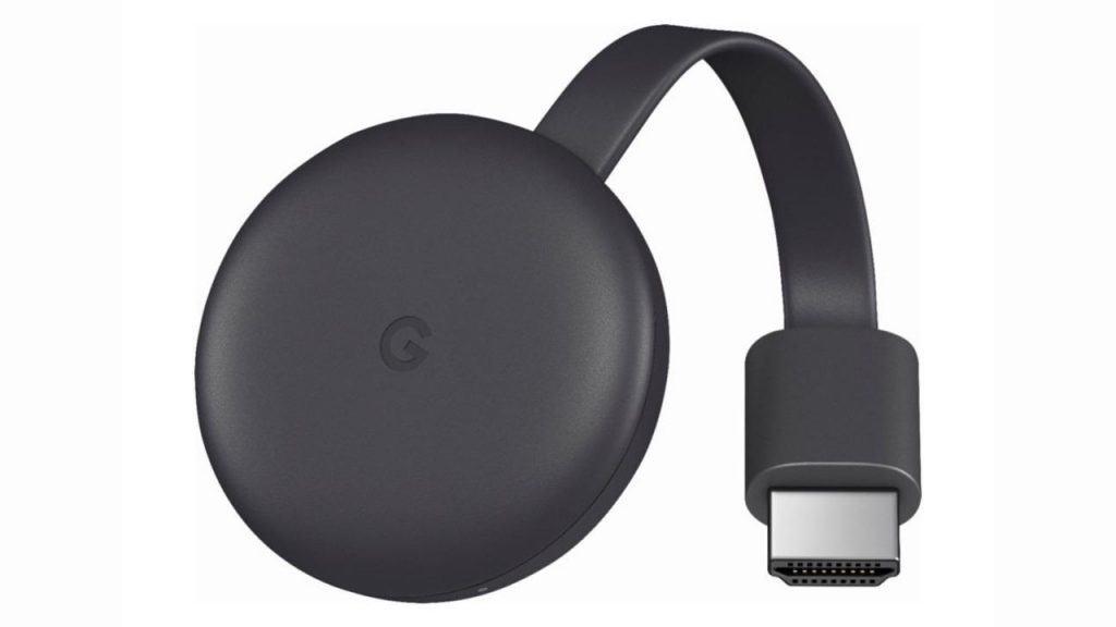 Imagem mostra o Chromecast, do Google, em um fundo branco