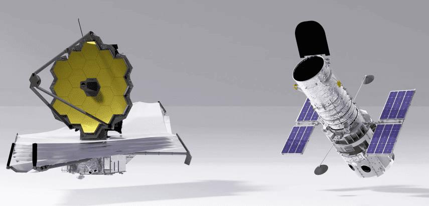 Comparação em escala entre os telescópios James Webb (à esquerda) e o Hubble (à direita)