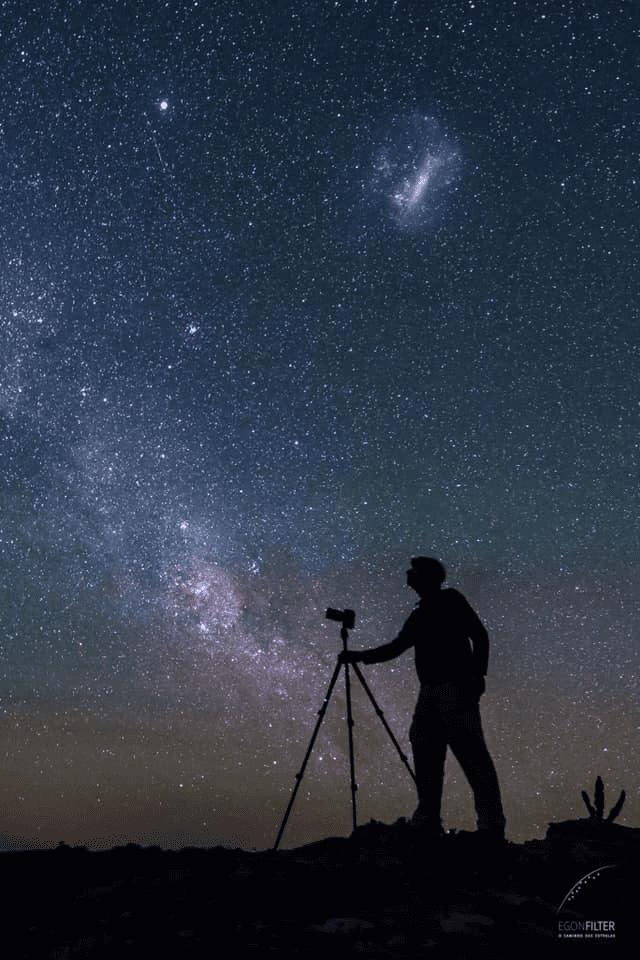 Egon, através do Projeto Caminho das Estrelas, registra o céu noturno em locais escuros do Rio Grande do Sul