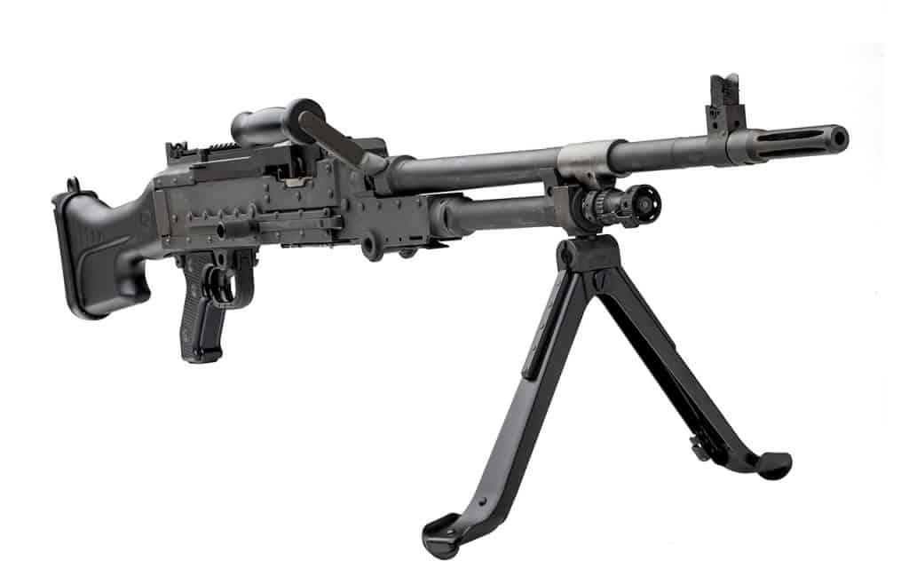 O drone israelense estava equipado com uma metralhadora belga FN MAG. Imagem: FN Herstal/Divulgação