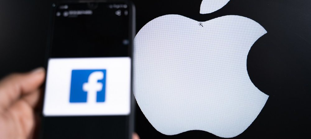 Logo do Facebook e Apple ao fundo